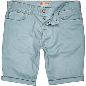 Light green denim turn up shorts