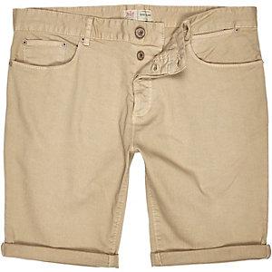 Light yellow denim turn up shorts