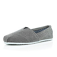 Grey denim slip on plimsolls