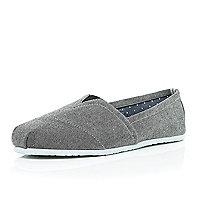 Grey denim slip on plimsolls