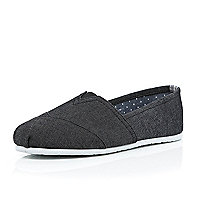 Black denim slip on plimsolls