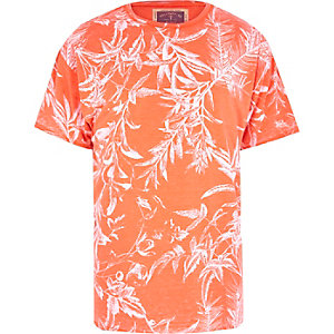 Orange Holloway Road botanical print t-shirt