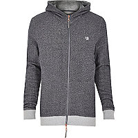 Grey Holloway Road sandstone zip hoodie