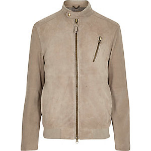 Stone Holloway Road suede bomber