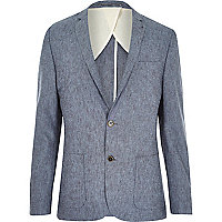 Blue Holloway Road linen blend suit jacket