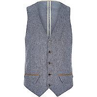 Blue Holloway Road linen blend waistcoat