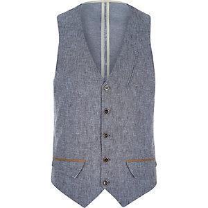 Blue Holloway Road linen-blend waistcoat