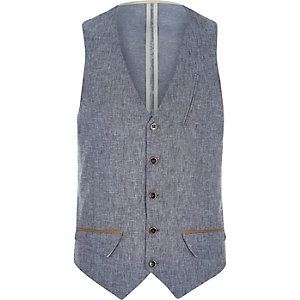 Blue Holloway Road linen-blend vest