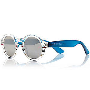 Blue stripe Design Forum round sunglasses