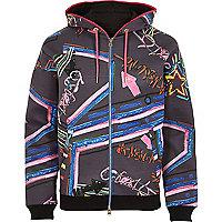 Grey Design Forum print hooded bomber jacket