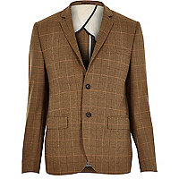 Brown wool-blend check blazer