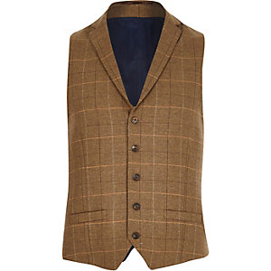 Brown wool-blend check waistcoat
