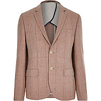 Pink wool-blend check suit jacket