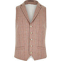 Pink smart wool-blend check waistcoat