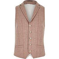 Pink smart check waistcoat