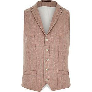 Pink smart wool-blend check waistcoat