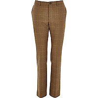 Brown smart wool-blend check trousers