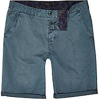 Teal slim chino shorts