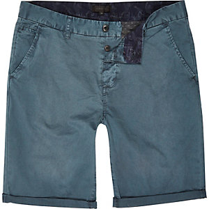 Teal slim chino shorts