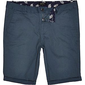 Teal green skinny chino shorts