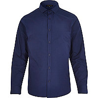 Navy blue slim collar long sleeve shirt