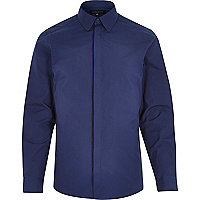Navy penny collar shirt