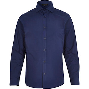 Navy blue formal blue double cuff shirt