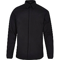 Black penny collar long sleeve shirt