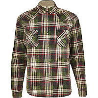 Blue Bellfield acidwash check shirt