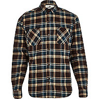 Brown Bellfield herringbone check shirt