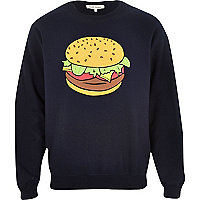 Navy burger print sweatshirt
