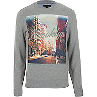 Grey Brooklyn print sweatshirt