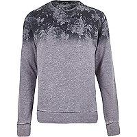 Navy floral fade print sweatshirt