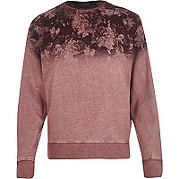 Red floral fade print sweatshirt