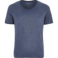 Navy marl low scoop neck t-shirt