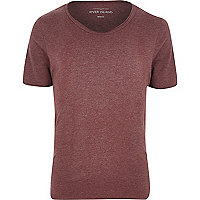 Red marl low scoop neck t-shirt