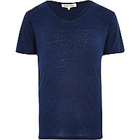 Blue burnout low scoop neck t-shirt