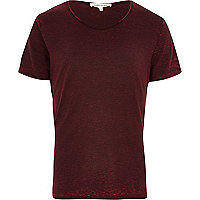 Red burnout low scoop neck t-shirt