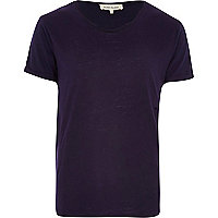 Purple burnout low scoop neck t-shirt