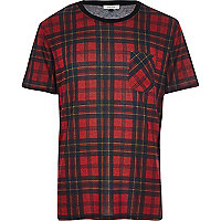 Red tartan check t-shirt