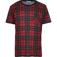 Red tartan check t-shirt