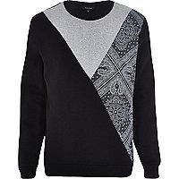 Black bandana cut and sew sweatshirt