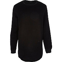Black ripple textured curved hem sweatshirt