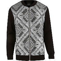 Black paisley bandana print bomber jacket