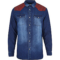 Blue denim check shoulder shirt