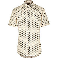 Ecru geometric print short sleeve shirt