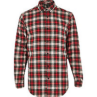 Red tartan check longer length shirt