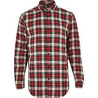 Red tartan check longer length shirt