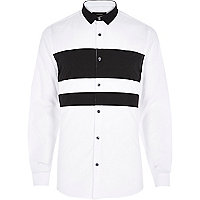 White and black panel shirt
