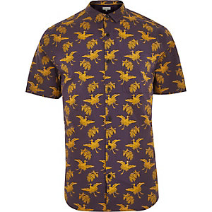 Brown Japanese bird print shirt